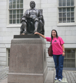 Harvard University, Cambridge, Massachusetts (rubbing John Harvard's foot for good luck)